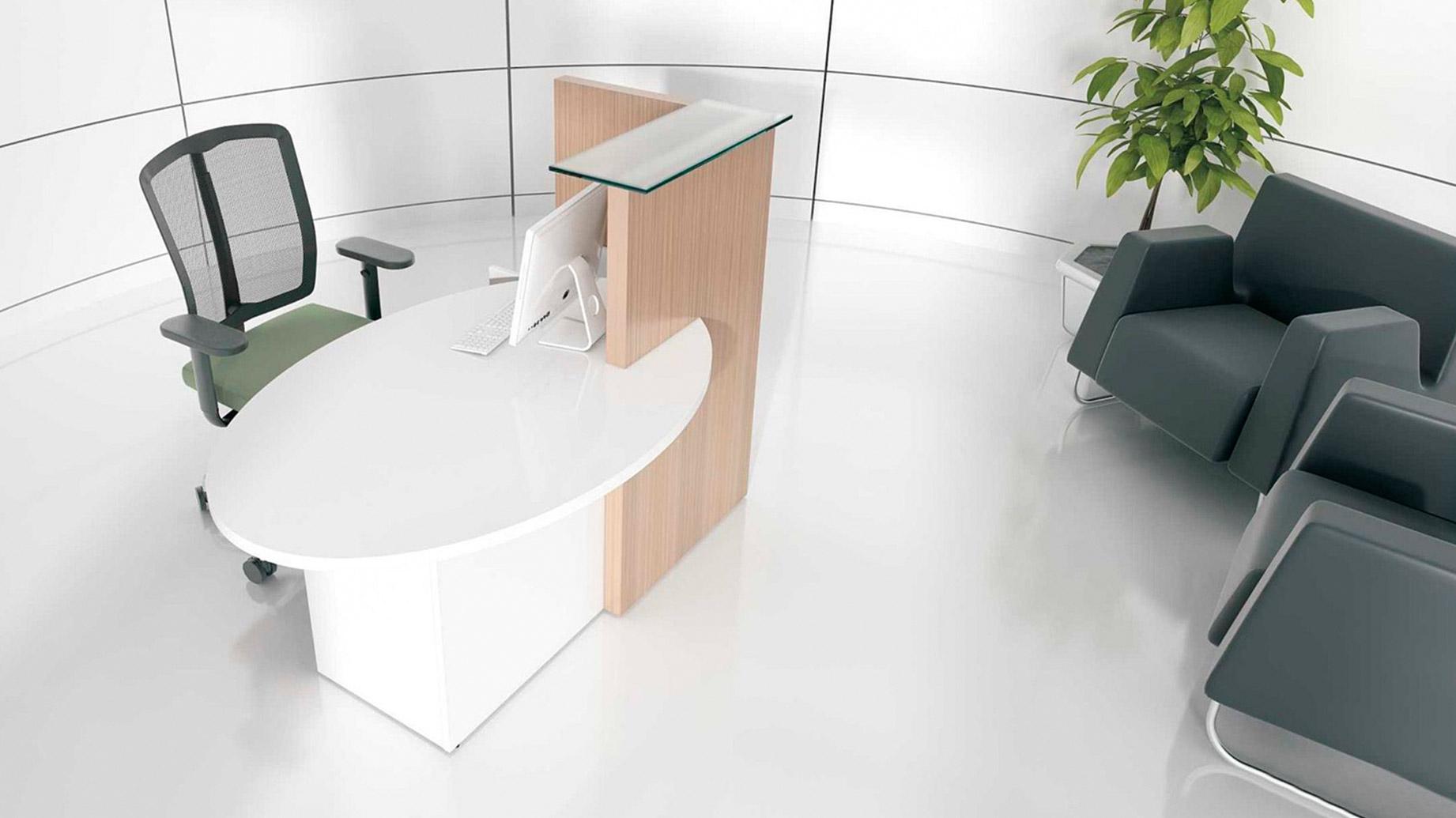 stock b roeinrichtungen kleine ovale theke f r b ro und messe. Black Bedroom Furniture Sets. Home Design Ideas